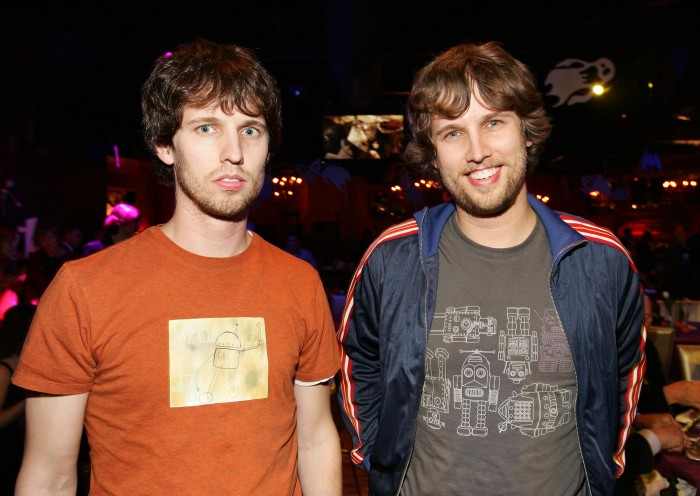 """HOLLYWOOD - OCTOBER 16: (US TABS AND HOLLYWOOD REPORTER OUT) Actors Jon Heder (L) and twin brother Daniel attend the after party to the premiere of the Walt Disney Pictures' film """"The Nightmare Before Christmas 3D"""" on October 16, 2006 at The Highlands in Hollywood, California. (Photo by Vince Bucci/Getty Images)"""