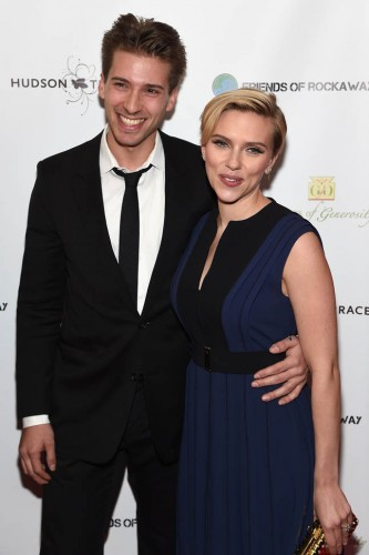 NEW YORK, NY - NOVEMBER 18: Actors Hunter Johansson (L) and Scarlett Johansson attend the Friends Of Rockaway 2nd annual Hurricane Sandy fundraiser at Hudson Terrace on November 18, 2014 in New York City. (Photo by Jamie McCarthy/Getty Images for Friends of Rockaway)