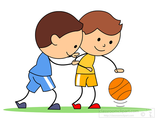 two boys playing basketball clipart